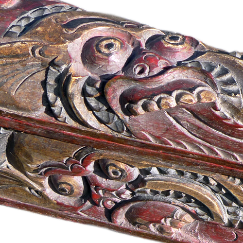 Ornately carved Balanese purse used for medcines