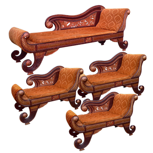 Javanese painted and guilded 4 piece Chaise Longue set