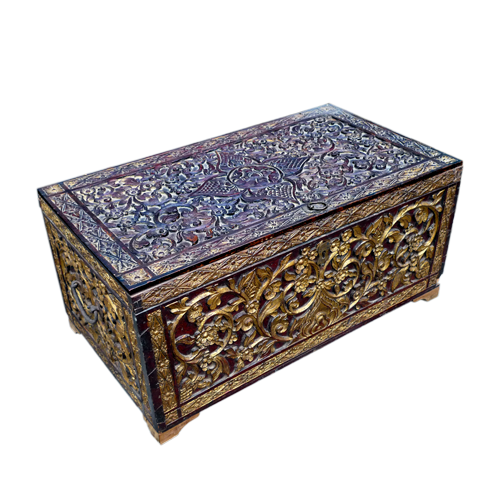 Fine ornately carved gilded and patinated Java box