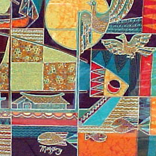 Abstract Batik Tulis painting with ships in red