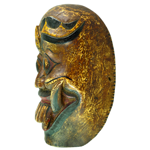 Bali Barong mask with gold paint and beautiful heavy patina