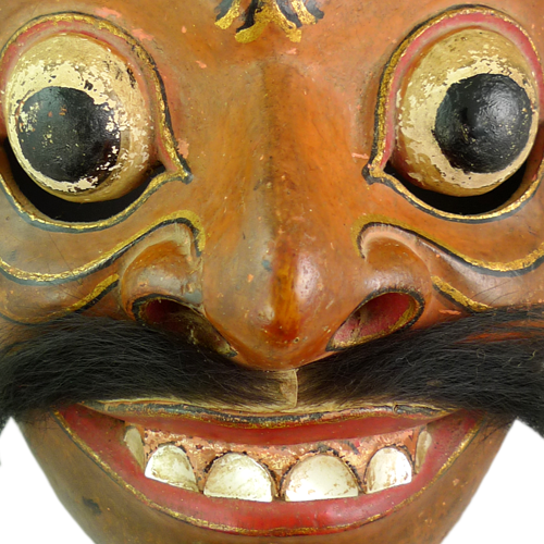 Bali mask finely carved with superb expression and mother of pearl teeth