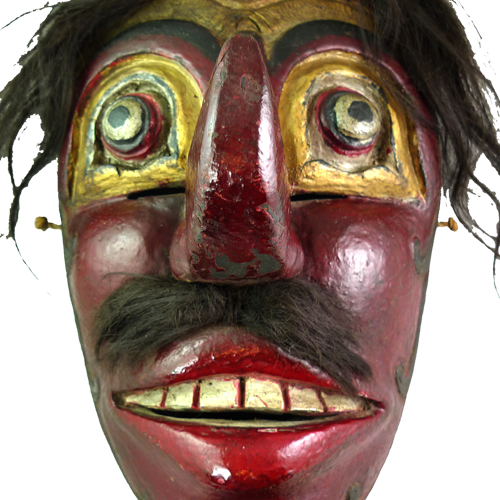 Large Java red faced village mask
