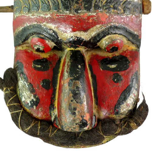 Unusual hinged red clapper mask with rolled mustache