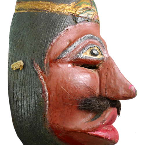 Java red faced village mask from Garut with pouched lips