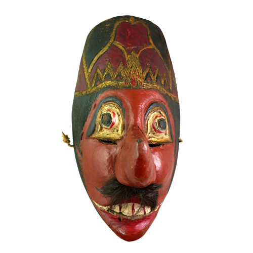 Java red faced village mask with small mustache