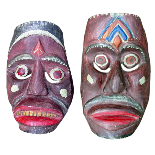 Pair of large crudely carved Indramayu village masks