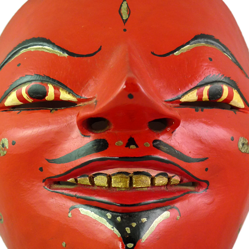 Fine Cirebon red faced mask with tiara
