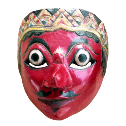 Cirebon blue faced mask with Solo style tiara