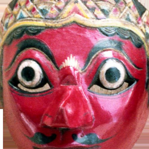Cirebon blue faced mask with Solo style tiara