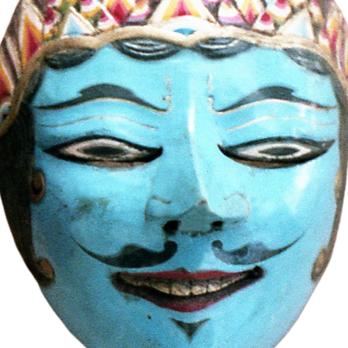 Cirebon red faced mask with Solo style tiara