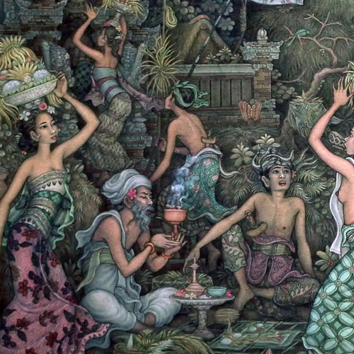 Fine Ubud painting depicting a festival