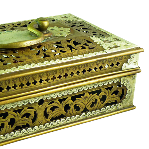 Ornately carved brass and tin lided jewels box