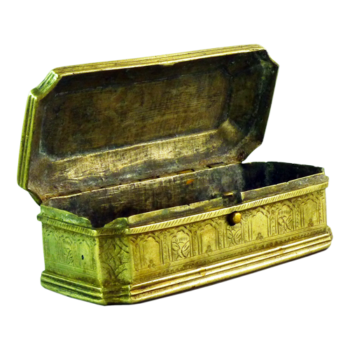 Javanese carved Islamic brass box