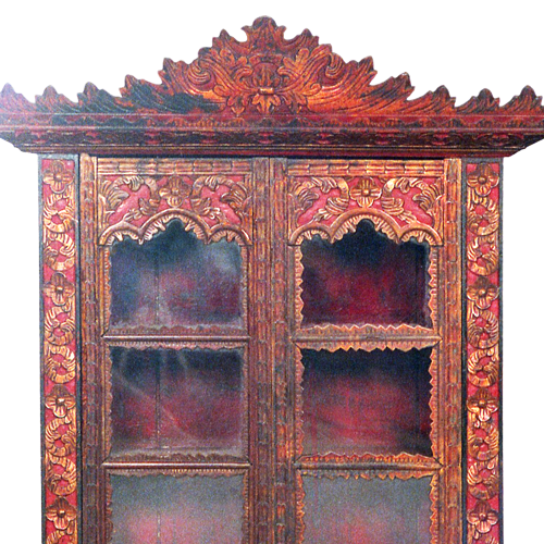 Ornately carved lacquered Palembang wall cabinet