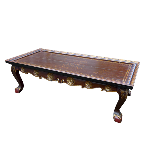 Carved and lacquered Palaembang coffee table