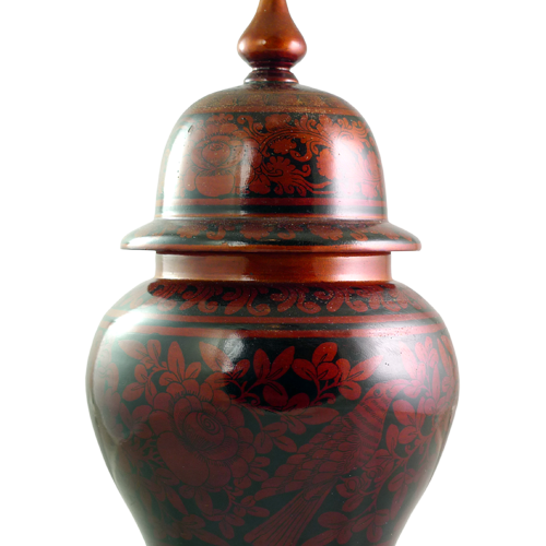 Red laquered Palembang lidded vase