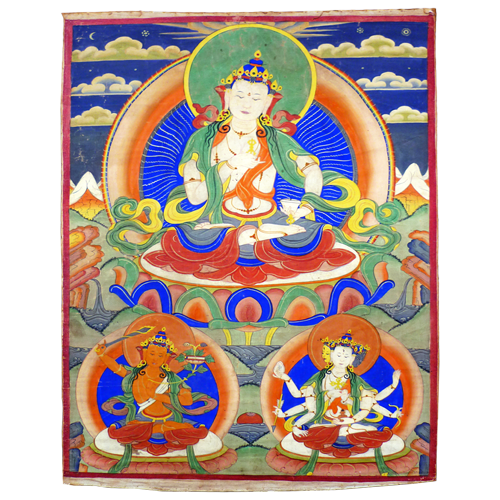 Buddhist tanka depicting Dorje Sempa flanked by Manjusri and Ushnisha