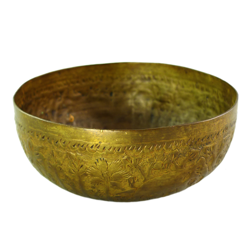 Small bronze bowl designed with forest and elephants