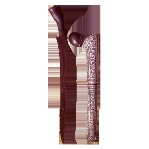 Achenese Badek dagger with floral silver sheath