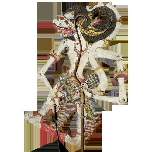 Javanese buffalo hide shadow puppet or Wayang Kulit - White Hanoman