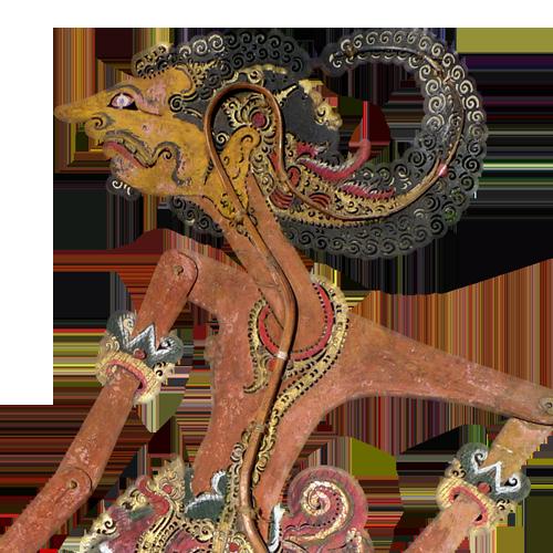 Javanese buffalo hide shadow puppet or Wayang Kulit - Arjuno