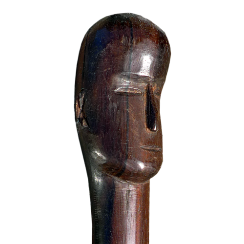Iban hardwood walking stick with carved head