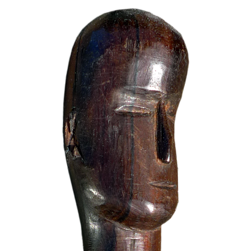 Dayak (Iban) hardwood walking stick with carved head