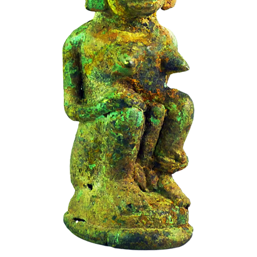 Bronze hemaphrodite fertility figure with breasts and phallus