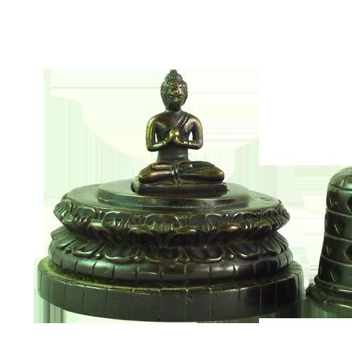 Three piece cast bronze stupa